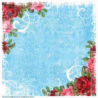 fondo vintage con flores azul