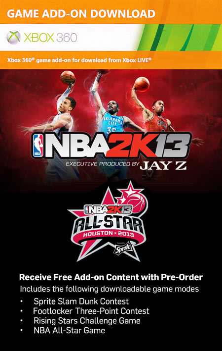 Free NBA 2K13 All-Star Weekend DLC Code (XBOX 360)