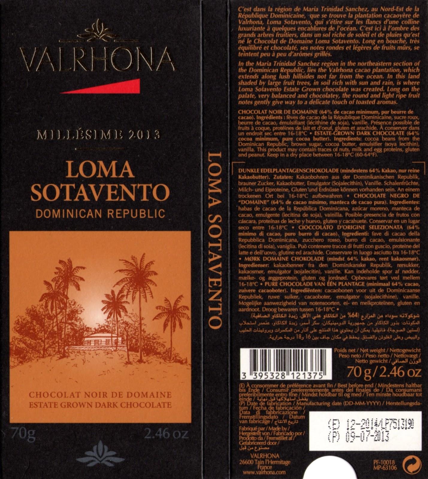 tablette de chocolat noir dégustation valrhona noir de domaine loma sotavento dominican republic 2013