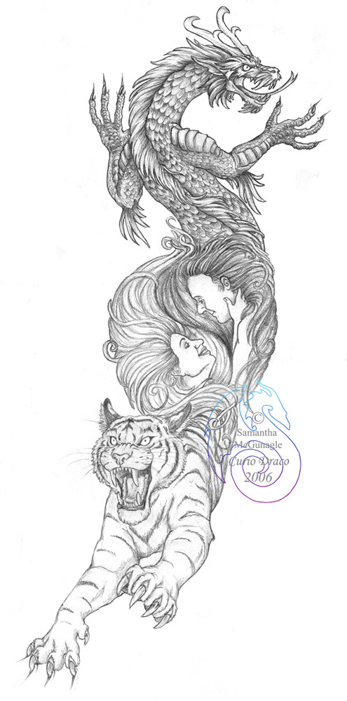 Tiger and Dragon Tattoo Designs
