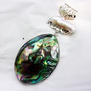 Liontin Batu Permata Rainbow Black Pearl - SP683