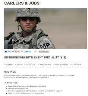 Internment Specialist, U.S. Army careers