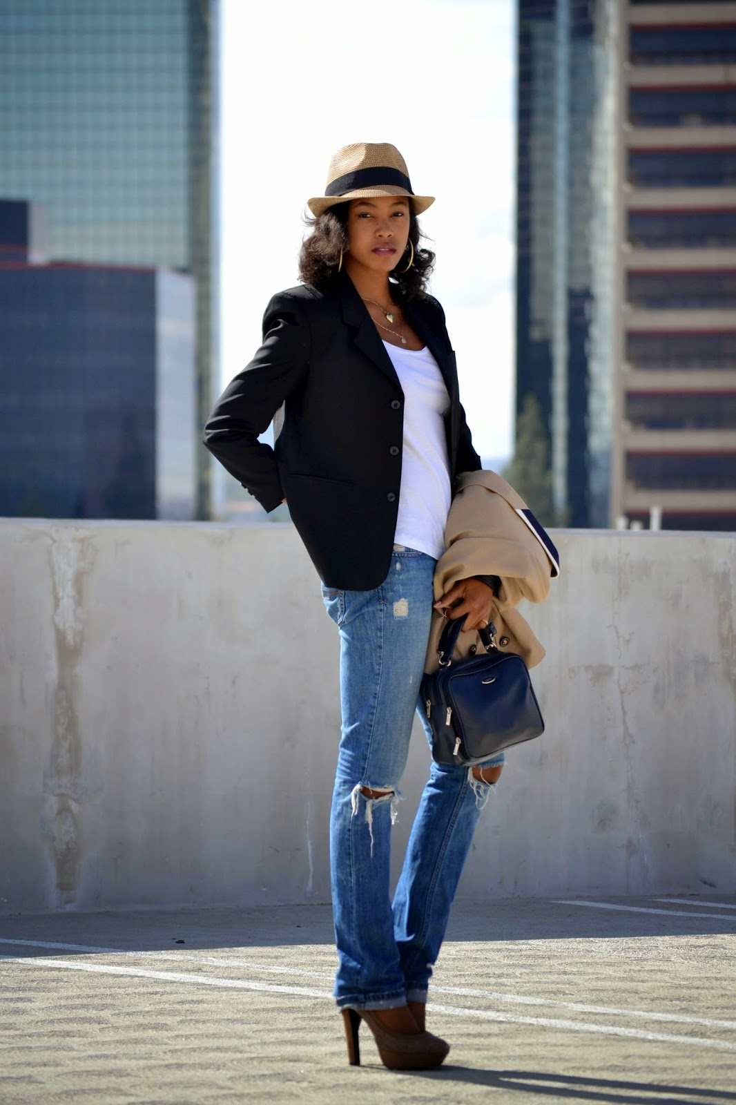 How to style a blue blazer with a straw fedora