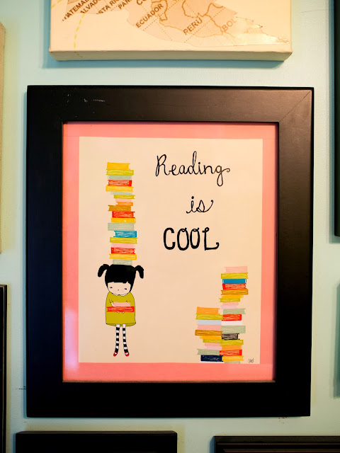 "Bright and fun, colorful little girl's room on a budget. ""Reading is cool"" print from Etsy"