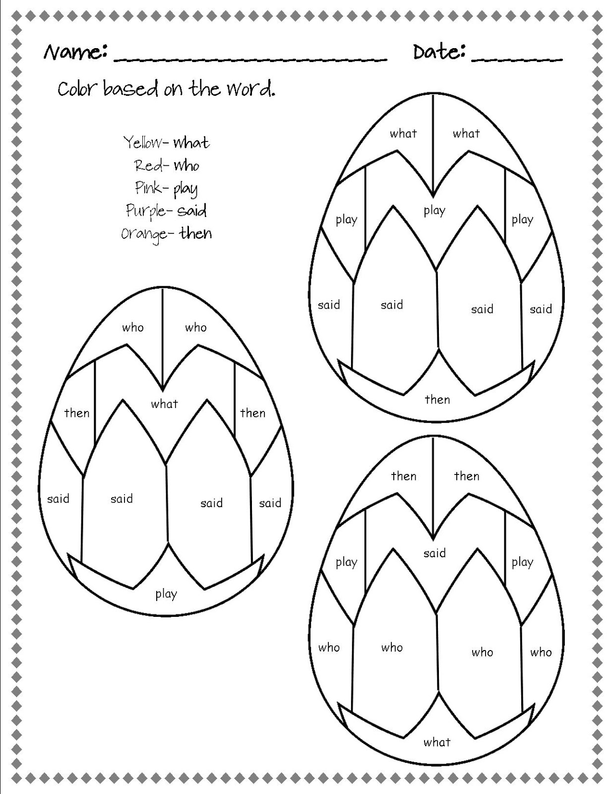 Coloring sheets sight words - Spring Fling Freebies Continued