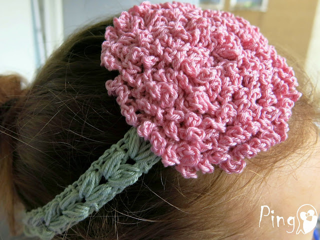 Ruffle Flower Headband crochet pattern by Pingo - The Pink Penguin