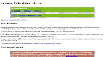 ham.fi/tentti sivustolla on myös T2 opiskelumateriaalia