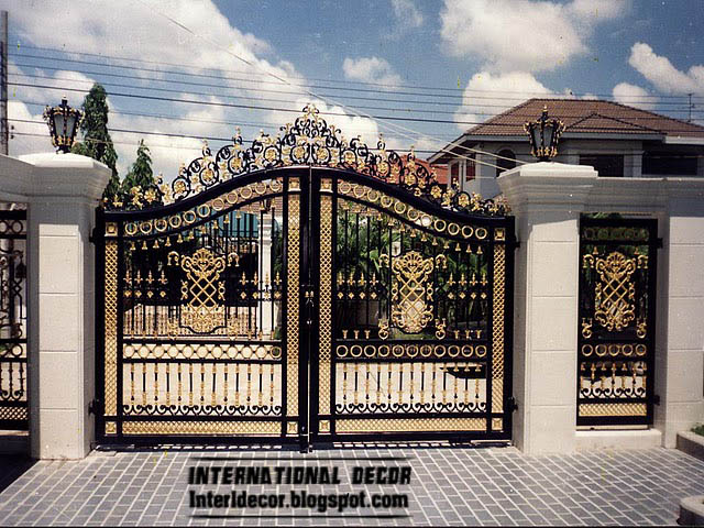 Modern Iron gate designs, glided black iron gate designs