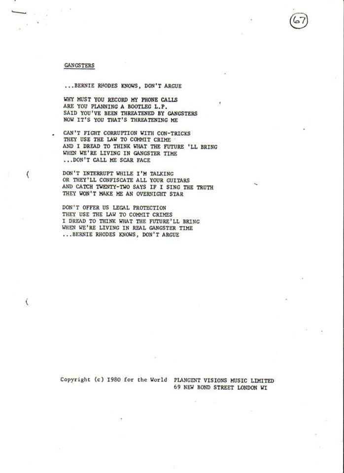 Lyric brand new you won t know lyrics : Marco On The Bass: Rare Chrysalis Records Song Lyric Sheets From ...