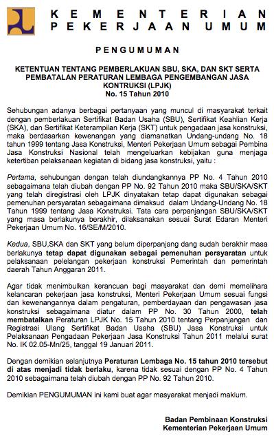Pembatalan Peraturan LPJK No. 15 Tahun 2010