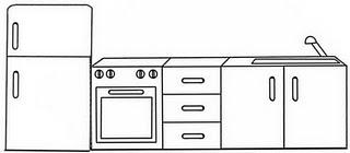 Muebles de la Cocina para colorear ~ 4 Dibujo