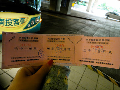 Bus ticket from Taichung to Nantou Taiwan
