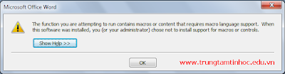 the function you are attempting to run contains macros&quot;