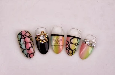 Korean flower nail arts