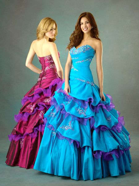 red and blue Strapless Sweetheart Ball Gown Long Prom Dress with beaded accent and ruffles