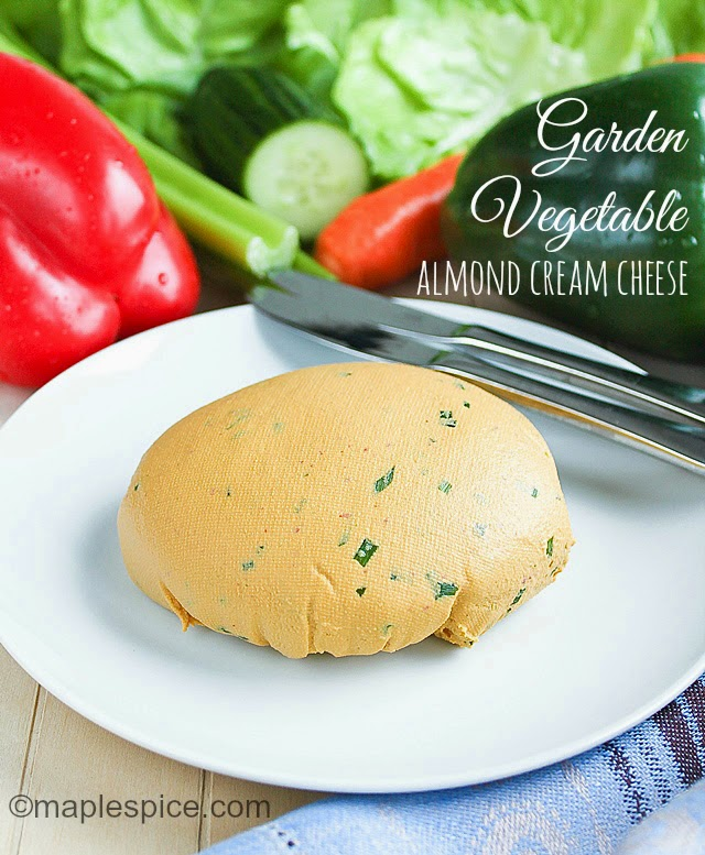 Vegan Garden Vegetable Almond Cream Cheese - can also be made whipped style for a dip!