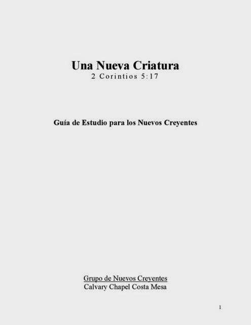 Chuck Smith-Una Nueva Criatura-Guía De Estudio Para Los Nuevos Creyentes-