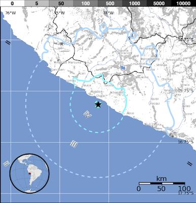 Sismo de 5,8 grados en la costa sur de Perú, el 29 de junio 2015