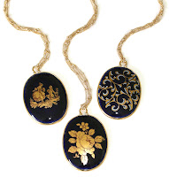 Cobalt Blue Cameo Necklaces, Vintage Limoges, Sophia & Chloe