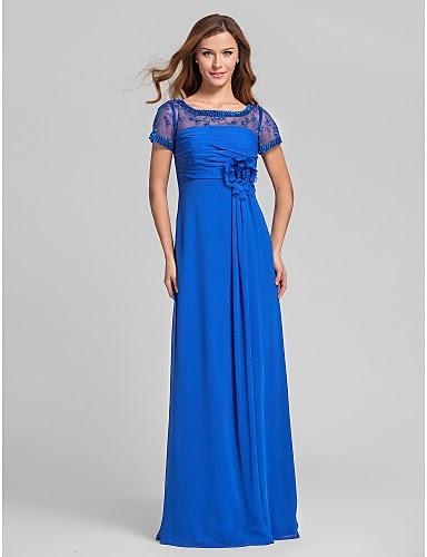 vestido largo azul de gasa y encaje