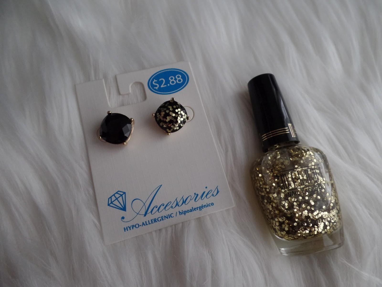 diy gold glitter earrings similar to Kate Spade
