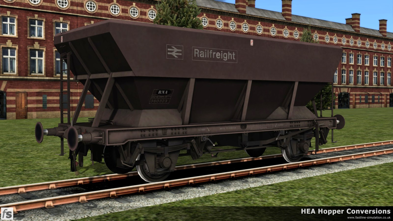 Fastline Simulation - HEA Conversions: This maroon HEA hopper has been taken on as a barrier wagon. Possibly the simplest conversion ever, just involving a change of TOPS code.