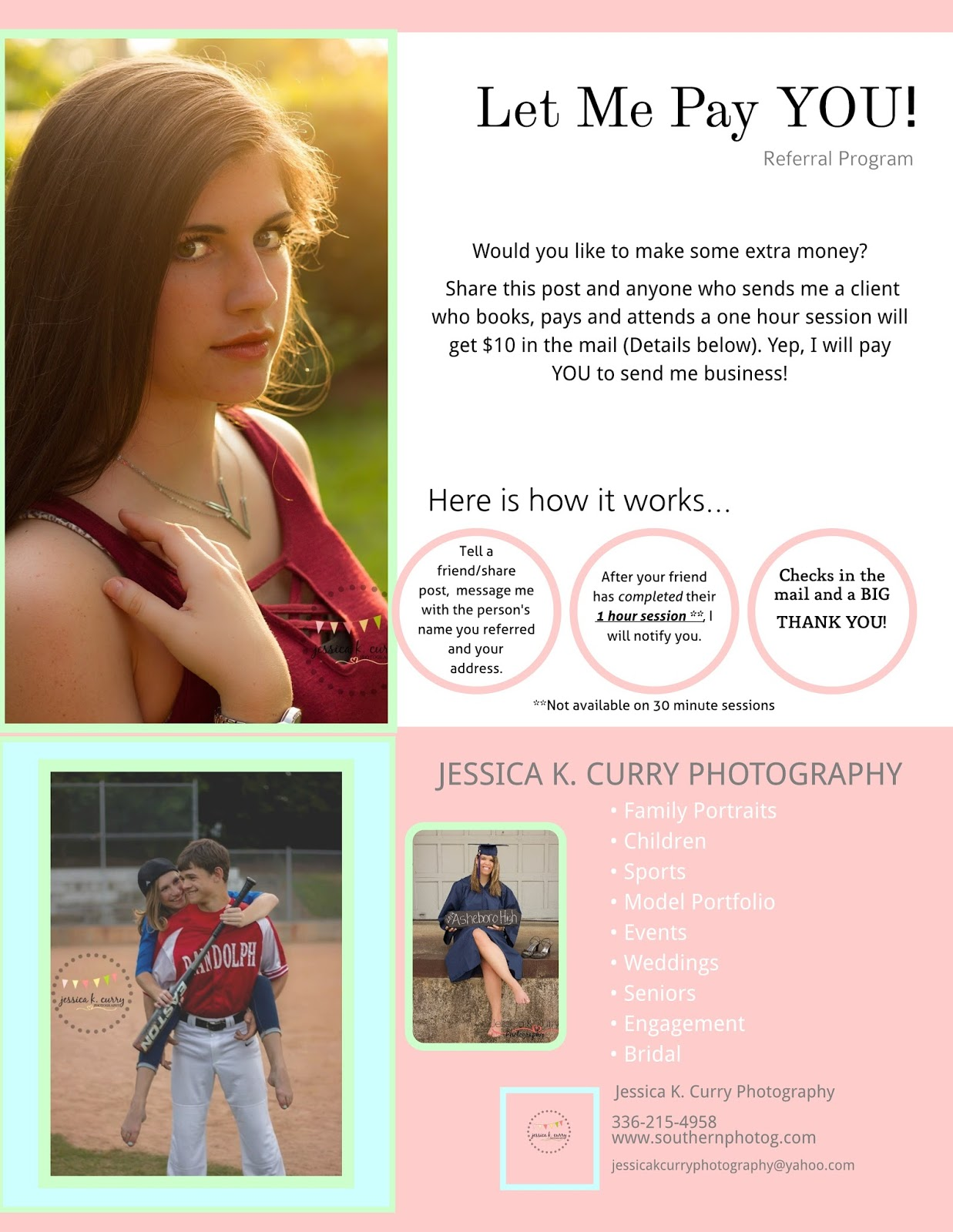 asheboro photographer, referral program, earn cash in asheboro