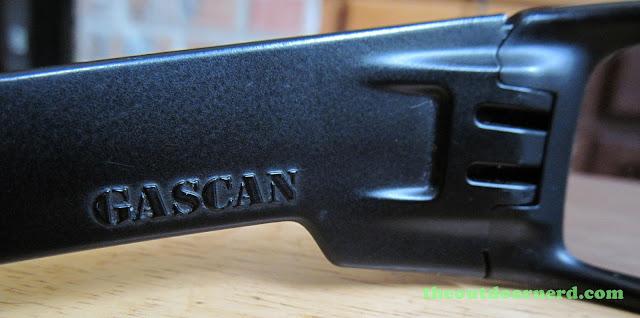 Oakley GasCan Sunglasses: Closeup Of GasCan Logo