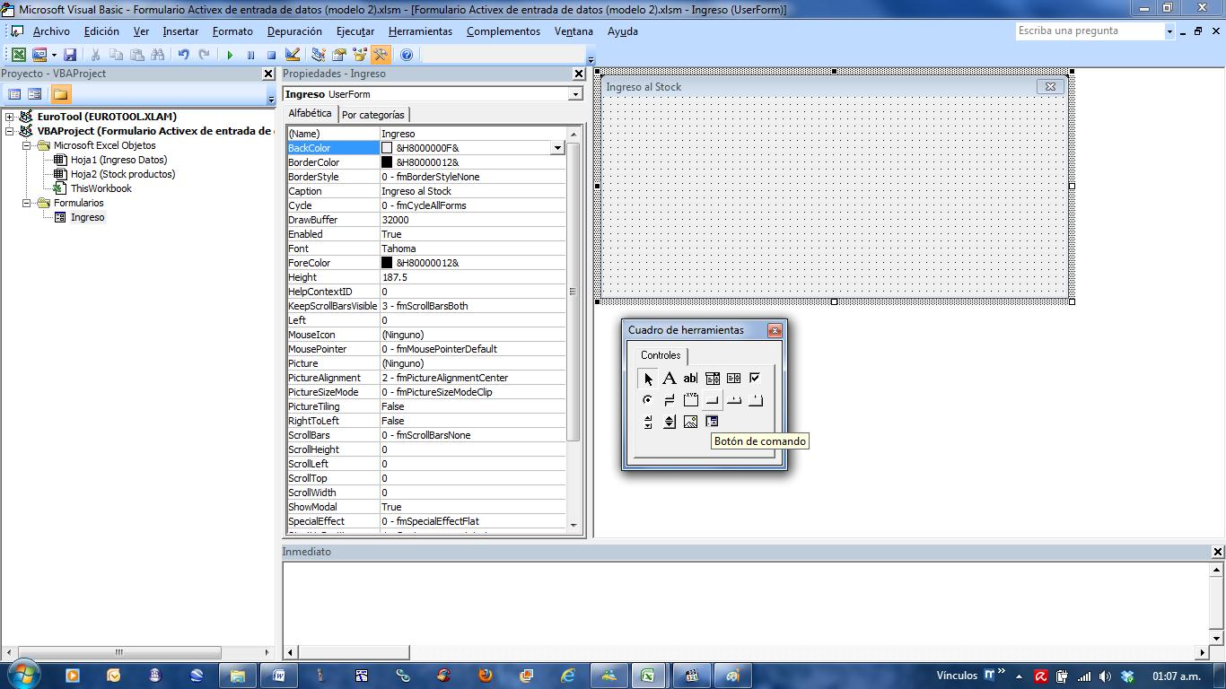 mini aplicaciones en Excel: Formulario ActiveX de entrada de datos