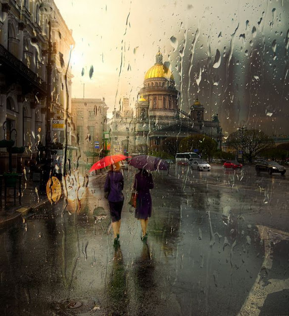 acrylic paintings of rainy cityscapes