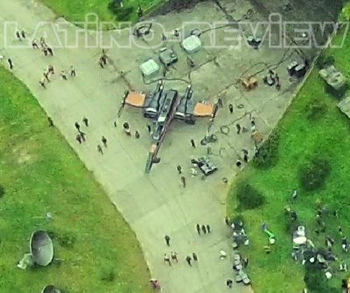 Vista aérea de un X-Wing en el set de rodaje de  Star Wars episode VII