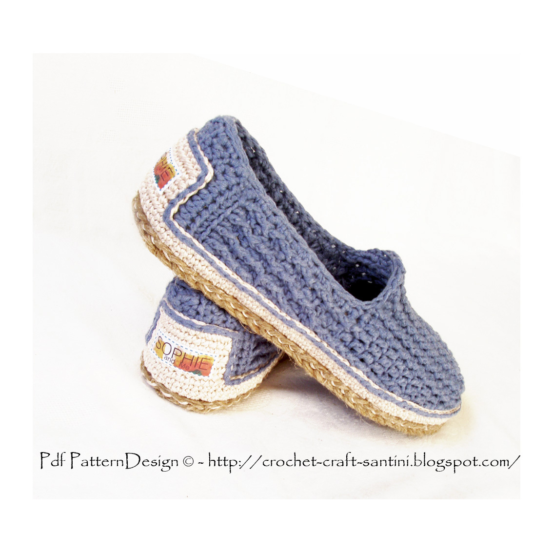 Crochet Shoes : ... crochet slippers to street Loafers! My new Denim-Slippers, added Cord