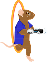 "Image: Frank the mouse steps through a portal (from the video game ""Portal"") holding a portal gun in his right hand, which he is steadying with his left hand. Caption:"