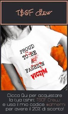 Acquista la tua t-shirt TSOF! usando il mio codice #amemi avrai subito il 20% di sconto.