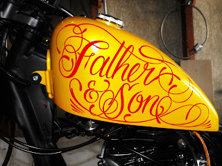 Hand Painted Traditional Signwriters Australia Custom Motorcycle  Tank by Dobell Signs Sydney New South Wales Australia