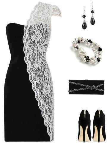 Black and white lace gown, high heel shoes, bracelet and hand bag for ladies