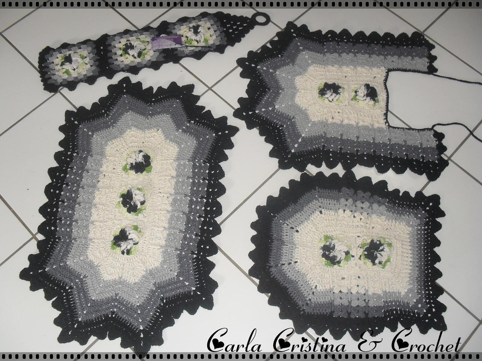Carla Cristina & Crochet: Jogo de Banheiro Preto e Cinza #60654E 1600x1200 Banheiro Branco Com Cinza