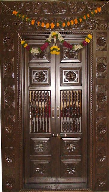 Latest pooja room door designs 2013 wood design ideas for Room design door