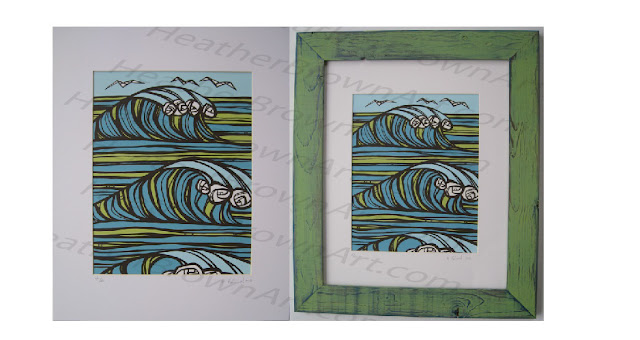 Hawaii Artist Heather Brown, Surf art SIlkscreen Vintage Surf