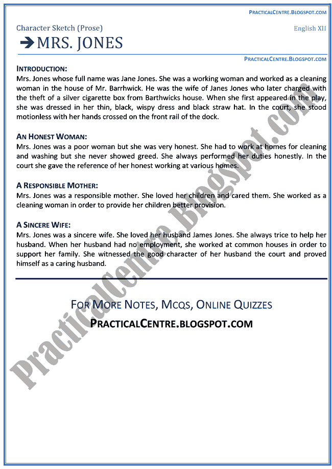 Practical Centre Mrs. Jones (Prose) - Character Sketch - English-XII