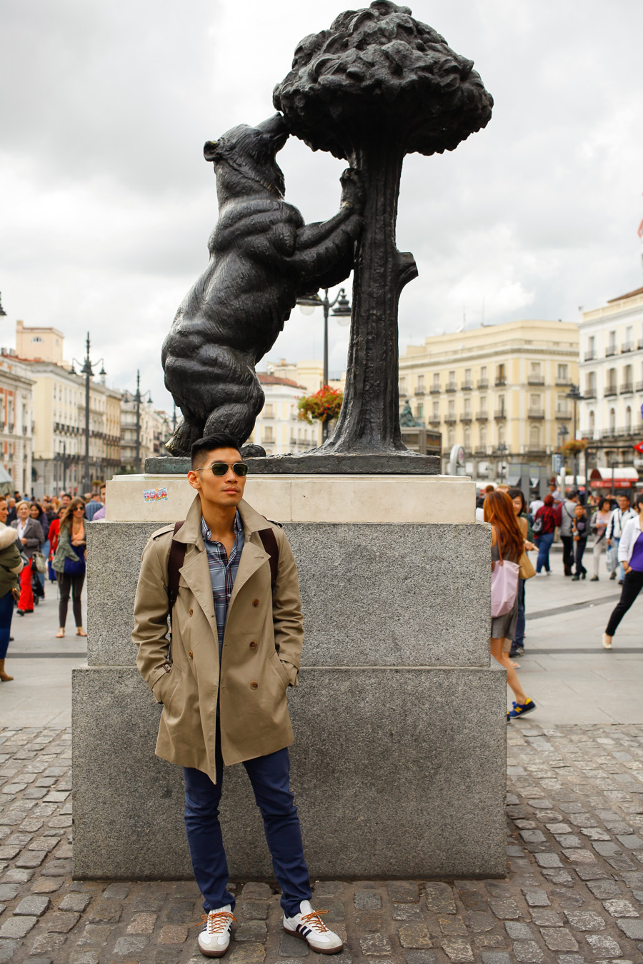 Levitate Style, Travel, Madrid, Spain, Fall, Menswear, Leo Chan, Alicia Mara, Plaza Mayor, Trench Coat