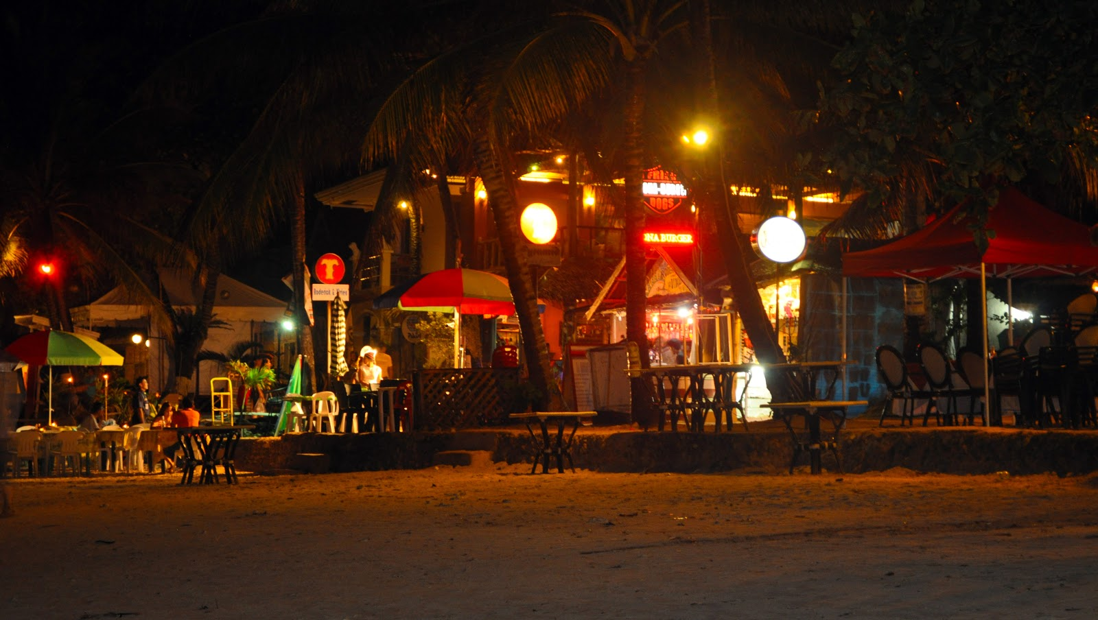alona beach at night