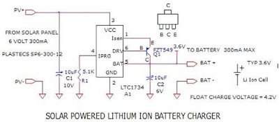 Circuit Project: Circuit Solar Powered Lithium Ion Battery Charger