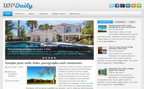 Free Jquery News Chrome Blue Wordpress Theme
