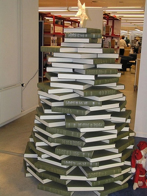 [Christmas tree made of books]