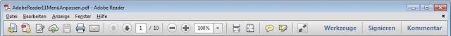 Standard-Werkzeugleiste Adobe Reader 11