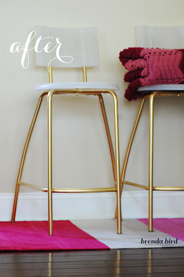 white and gold barstools