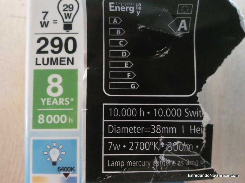 Temperatura de color. Etiqueta bombillas de bajo consumo. Enredandonogaraxe.com