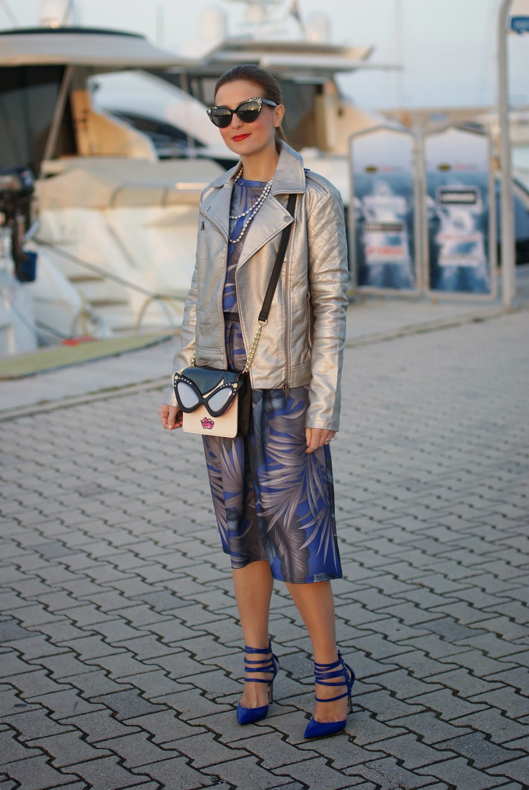 Betsey Johnson crossbody bag, ankle strap heels, blue heels, Le Silla pumps, scuba midi skirt, Asos silver jacket, Fashion and Cookies fashion blog, fashion blogger