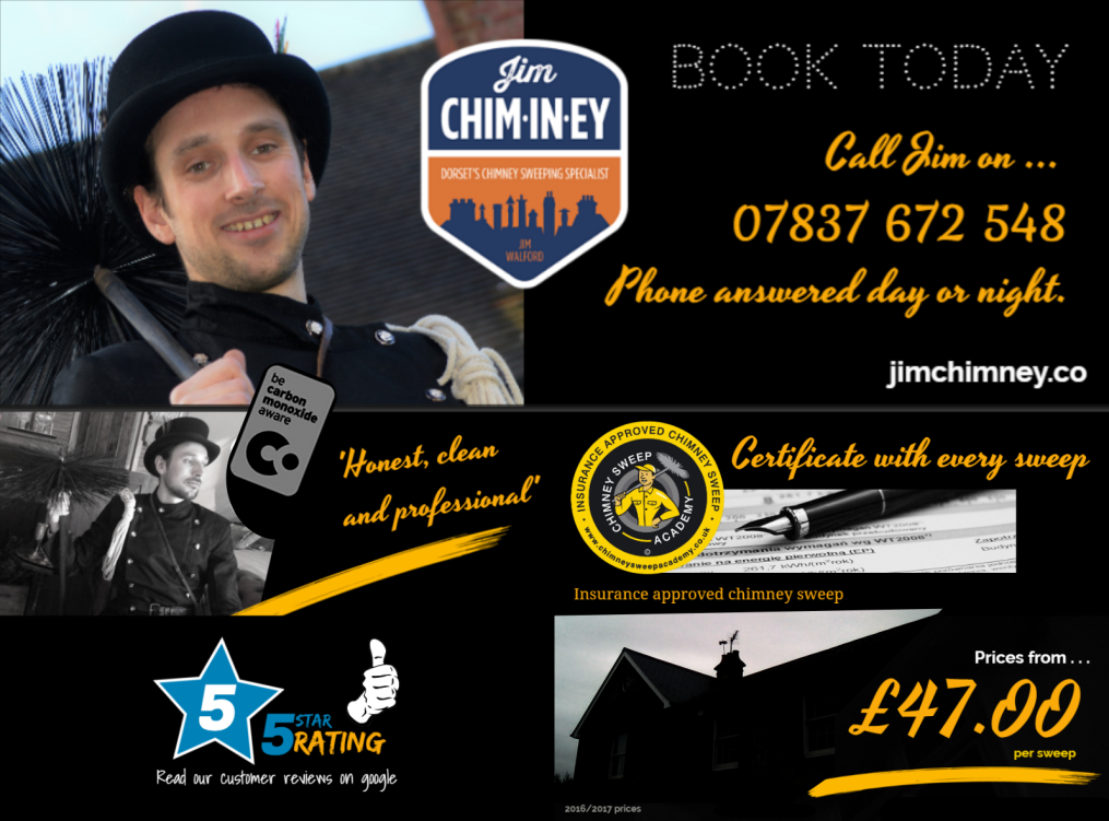 Jim Chim-in-ey - Dorset Chimney Sweep Bournemouth & Poole Only £47.00 a chimney Sweep